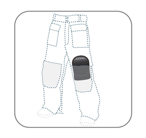Vector illustration 'breathalbe hard kneepad', in trousers